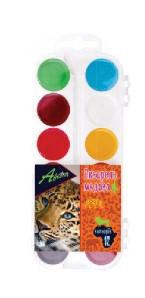 """Краски акварельные медовые """"Africa"""" 12 цветов без кисти в пластиковой упаковке"""