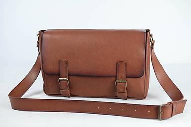 Кожаная мужская сумка Джоерман, натуральная кожа итальянский Краст цвет Коричневый