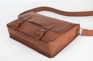 Кожаная мужская сумка Джоерман, натуральная кожа итальянский Краст цвет Коричневый, фото 3