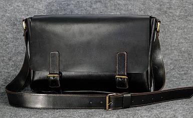 Кожаная мужская сумка Джоерман, натуральная кожа итальянский Краст цвет коричневый оттенок Кофе