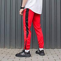 Спортивные штаны зауженные красные с черными полосками мужские модные молодежные весна 2019 Рокки