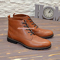 Ботинки мужские на шнурках, натуральная кожа рыжего цвета. 42 размер