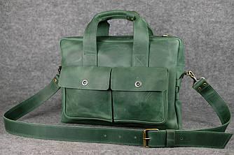 """Мужская сумка """"Модель №49"""" Винтажная кожа цвет Зеленый"""