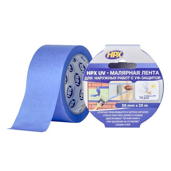 НРХ UV - синяя маскирующая малярная лента (скотч) для наружных работ - 50мм х 25м