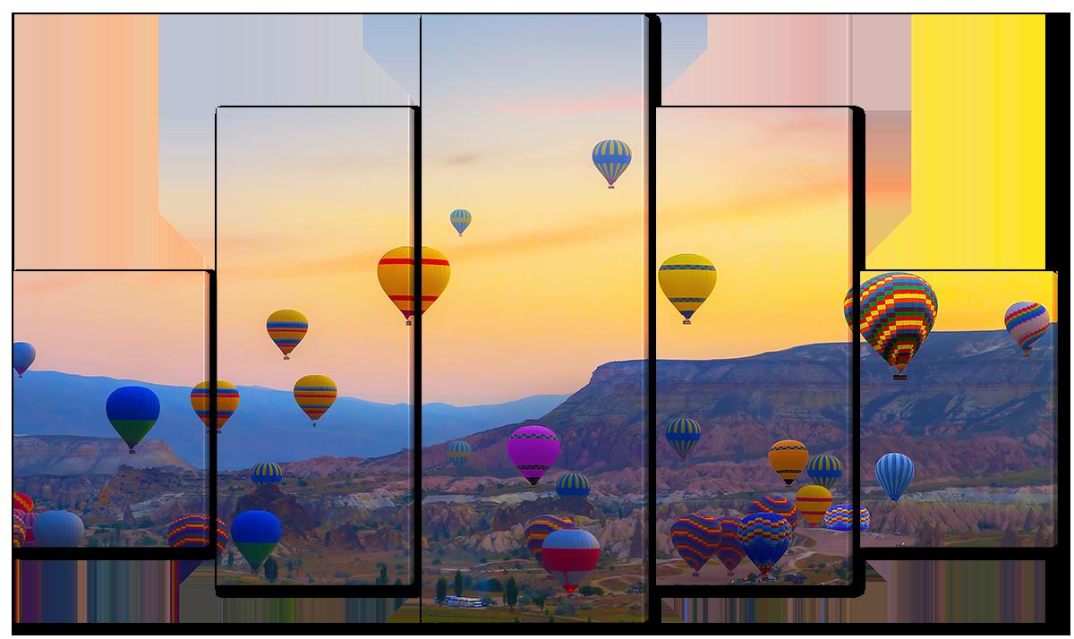 Модульная картина Interno Холст Воздушные шары на фоне заката 108х60см (R1593S)