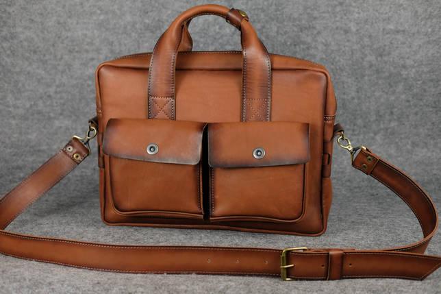 """Мужская сумка """"Модель №49"""" Кожа Итальянский краст цвет Коричневый, фото 2"""