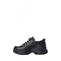 Женские cпортивные туфли из натуральной кожи на высокой платформе, фото 1