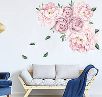 3D интерьерные виниловые наклейки на стены Пионы - цветы   60-40 см № 3 в детскую .Обои