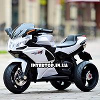 Детский трехколесный электро-мотоцикл на аккумуляторе Bambi с кожаным сиденьем белый цвет. Електромотоцикл