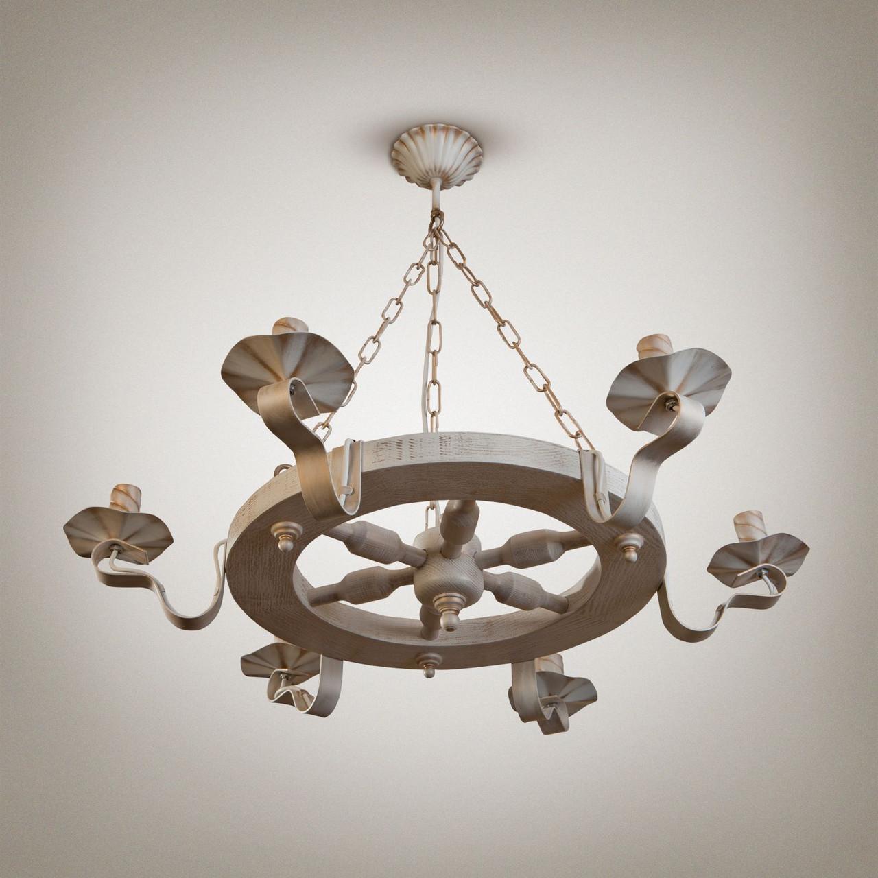 Люстра деревянная, 6-ти ламповая, колесо 561-3