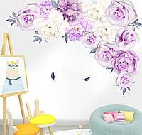 3D интерьерные виниловые наклейки на стены Пионы - цветы 2 листа  60x30 см 36элементов № 4 в детскую .Обои