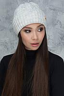 Вязаная женская шапочка Лия светло-серая