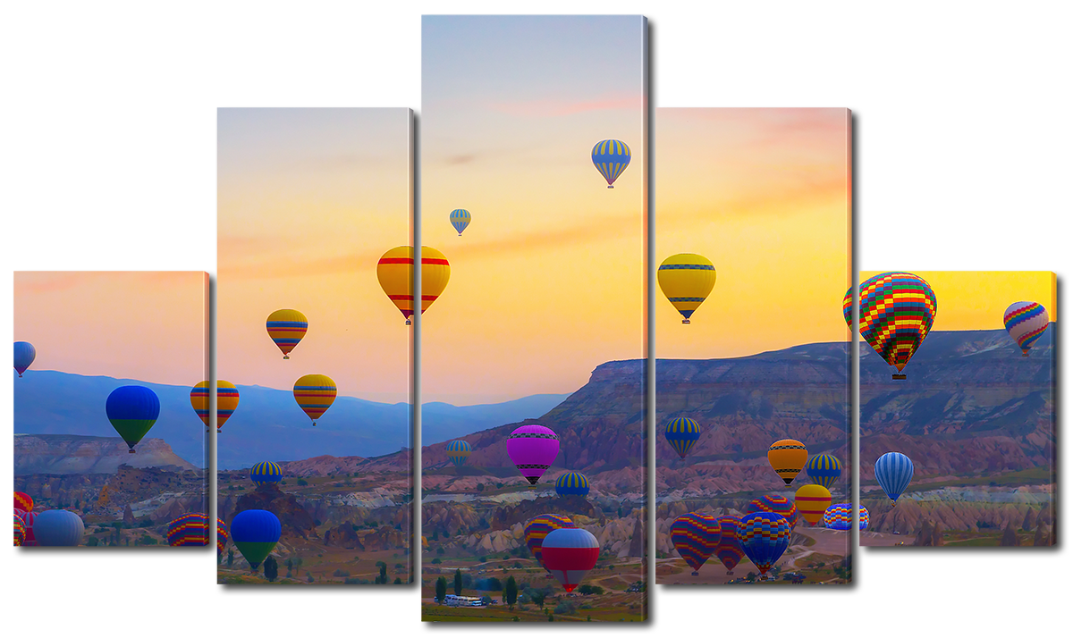 Модульная картина Interno Эко кожа Воздушные шары на фоне заката 123х69см (A1593M)