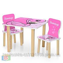 Детская парта со стульчиками. Материал: дерево. Размер столика ДхШхВ: 60х40х43 см. Фламинго 506-70-2