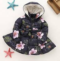 Пальто курточка для девочки Цветы (син) 116, фото 1
