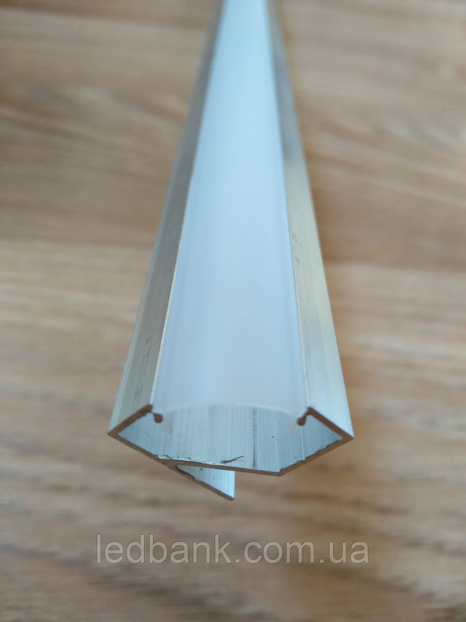 Профиль для светодиодной ленты ЛПУ17 угловой не анодированный + рассеиватель Поликарбонат