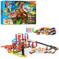 """Детский гоночный трек """"Динозавр Рекс"""". 10 машинок. Работает на батарейках. Размер трека: 120х75х25 см. 8899-94"""