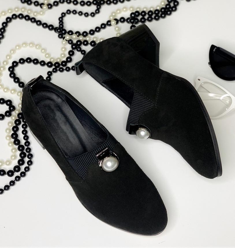 Женские туфли на каблуке, натуральная черная замша 36-42р