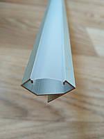 Профиль для светодиодной ленты ЛПУ17 угловой анодированный + рассеиватель Поликарбонат, фото 1