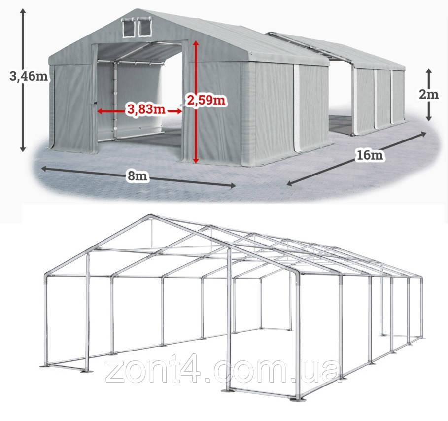 Шатер 8х16 метров ПВХ 580г/м2 с мощным каркасом под склад, гараж, палатка, ангар, намет павильон садовый серый