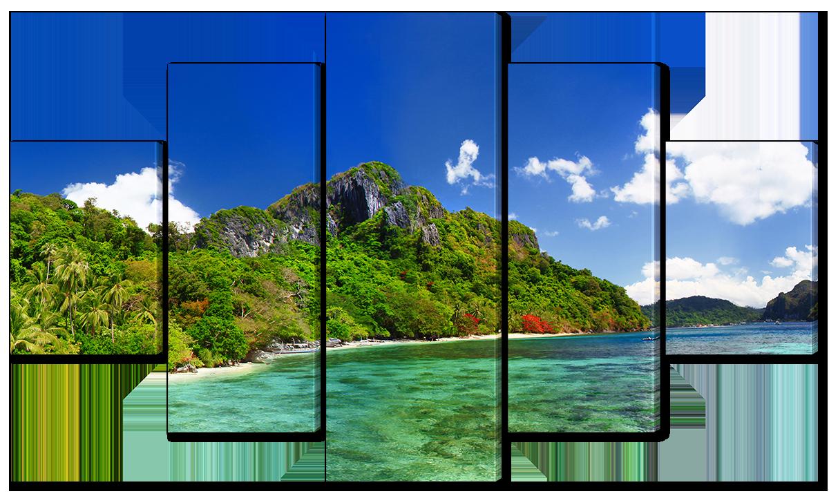 Модульная картина Interno Эко кожа Побережье острова 108х60см (A1597S)