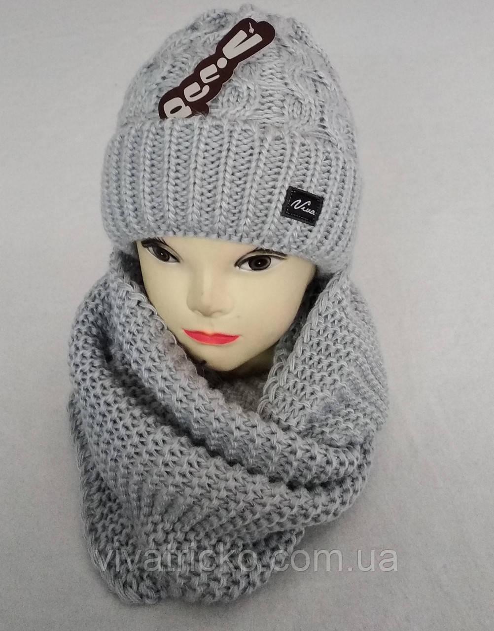 М 5065 Комплект жіночий шапка+хомут, марс, фліс