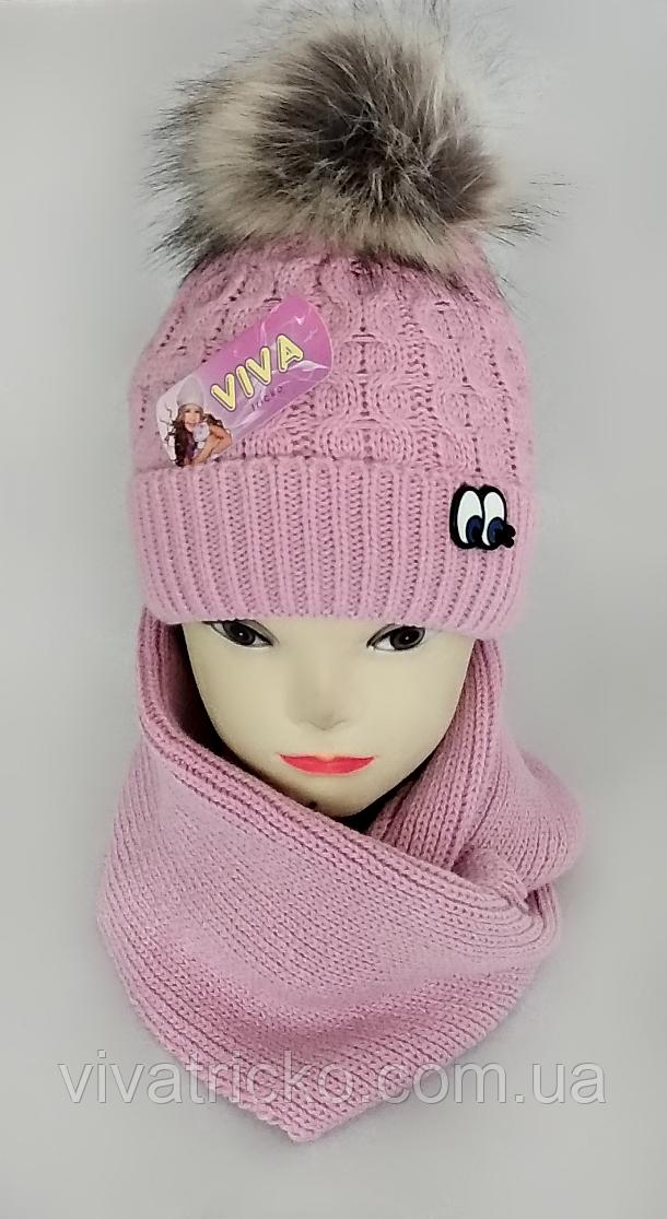 М 5068 Комплект для дівчинки шапка та хомут, кашемір, утеплювач фліс