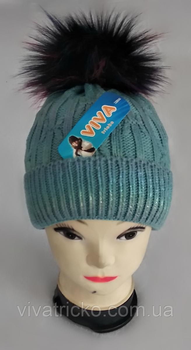 М 5069 Шапка з помпоном для дівчинки зимова , кашемір, фліс