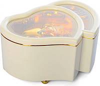 Шкатулка музыкальная Royaltoys Шкатулка X12527P (Розовая) заводная, сердце, 15см, муз,свет, на бат(таб), в кор-ке,12,5-15,5-7,5см (Белая) SKU_X12527W