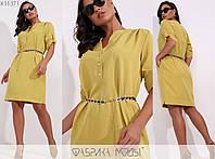 Платье женское свободного кроя с поясом в комплекте - Горчичный, фото 1