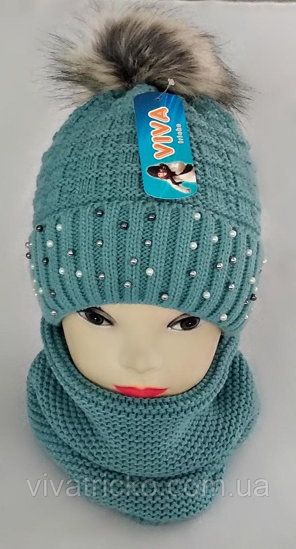 М 5076 Комплект для дівчинки: шапка та баф ( 3 - 12 років), кашемір, фліс