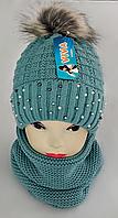 М 5076 Комплект для дівчинки: шапка та баф ( 3 - 12 років), кашемір, фліс, фото 1