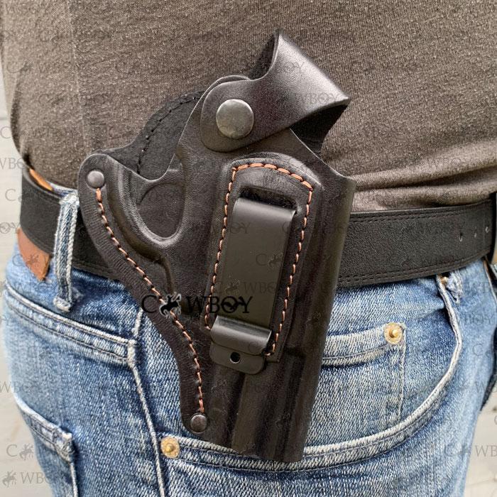 Кобура поясная для револьвера 2,5 формованная с клипсой (кожа, чёрная)