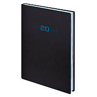 Ежедневник датированный Brunnen 2020 Стандарт Flex Neo чёрный с голубым