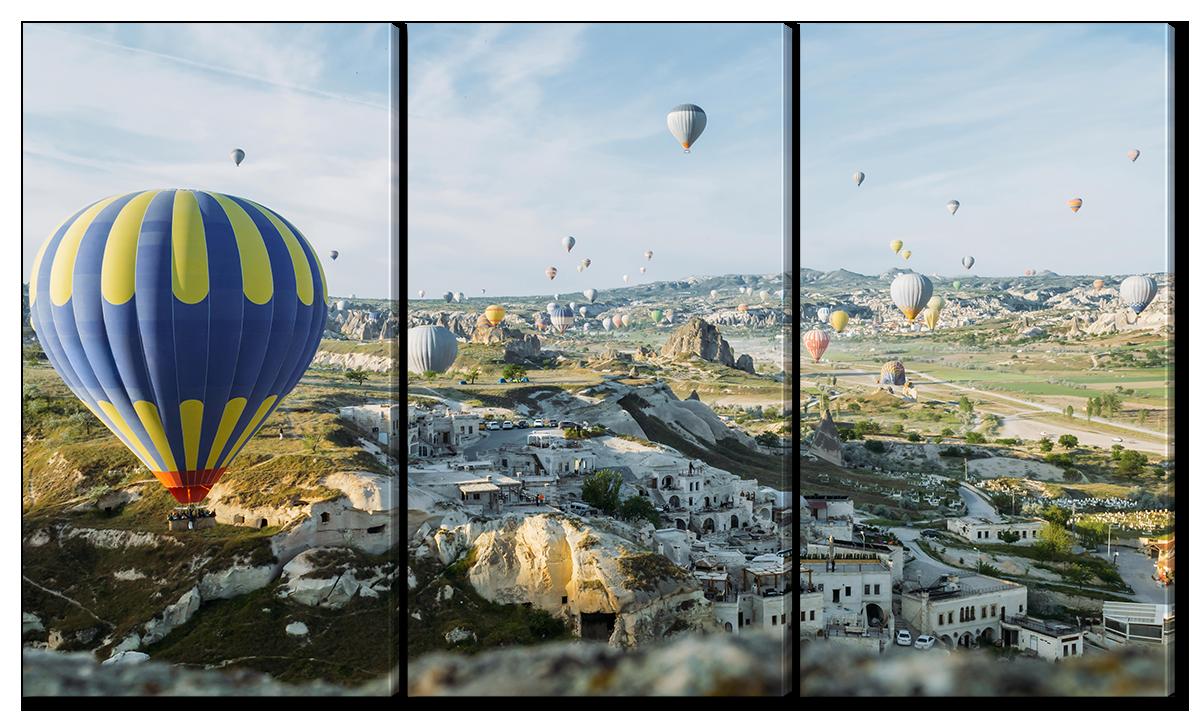 Модульная картина Interno Холст Воздушные шары над деревней 104х58см (R1599M)