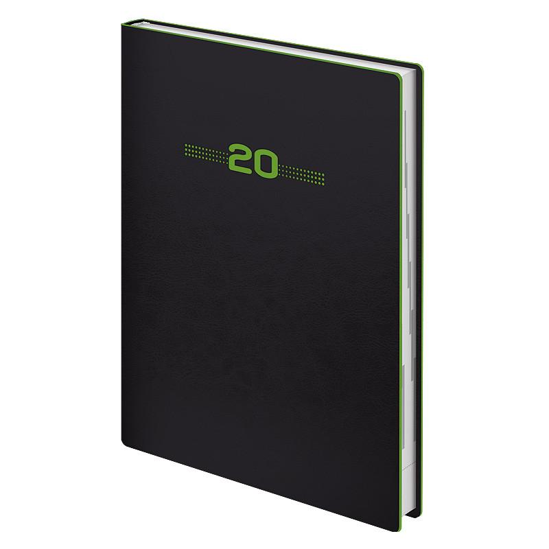 Ежедневник датированный Brunnen 2020 Стандарт Flex Neo чёрный с салатовым