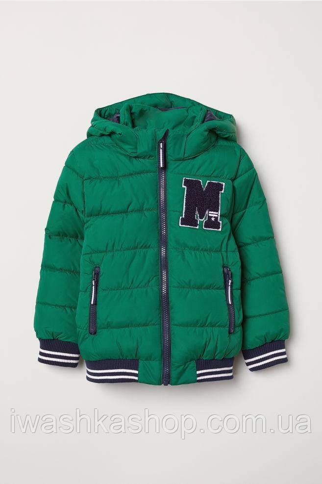 Теплая демисезонная куртка - бомбер на мальчика 3 - 4 лет, р. 104, H&M