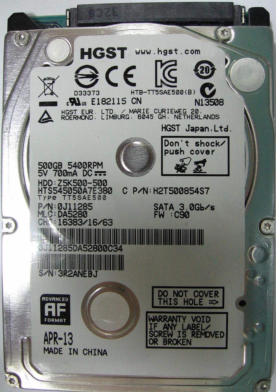 Жесткий диск HDD 500GB 5400rpm 8MB SATA II 2.5 Slim Hitachi HTS545050A7E380 3R2ANEBJ