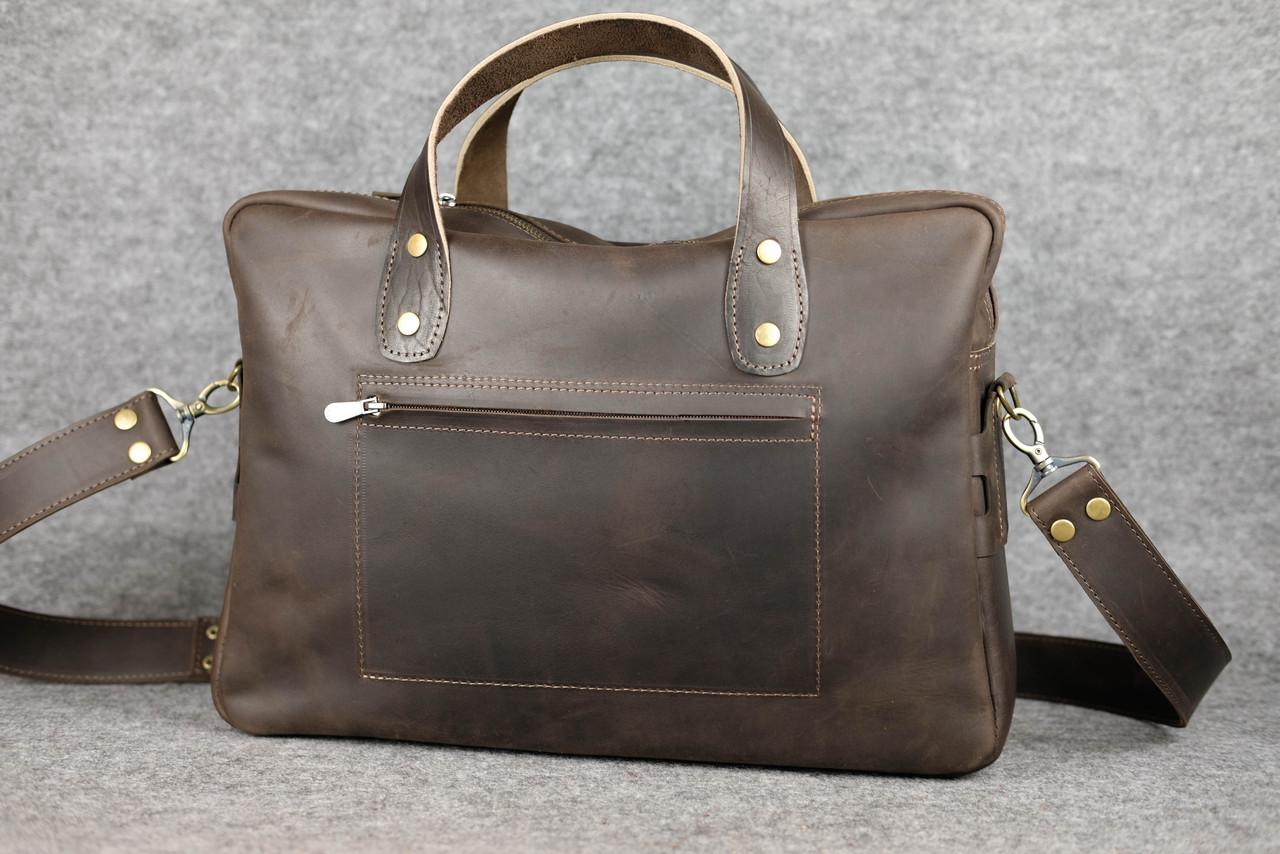 "Мужская сумка ""Модель №52"" Винтажная кожа цвет Шоколад"
