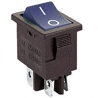 Переключатель с подсветкой KCD-1-104, ON-OFF, 4pin, 6A, 220V, синий