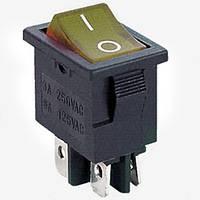 Переключатель с подсветкой KCD-1-104, ON-OFF, 4pin, 6A, 220V / MIRS-201-1A DPST 4P, желтый