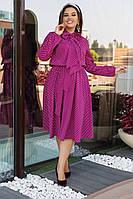 """Приталенное платье-миди """"Фрэнсис"""" с воротником-бантом и длинным рукавом (большие размеры)"""