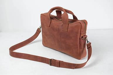Кожаная мужская сумка Стивен, натуральная Винтажная кожа цвет коричневый, оттенок Коньяк