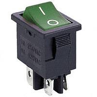 Переключатель с подсветкой KCD-1-104, ON-OFF, 4pin, 6A, 220V / MIRS-201-1A DPST 4P, зеленый