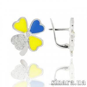 Серебряные серьги Украинский цветок 30783