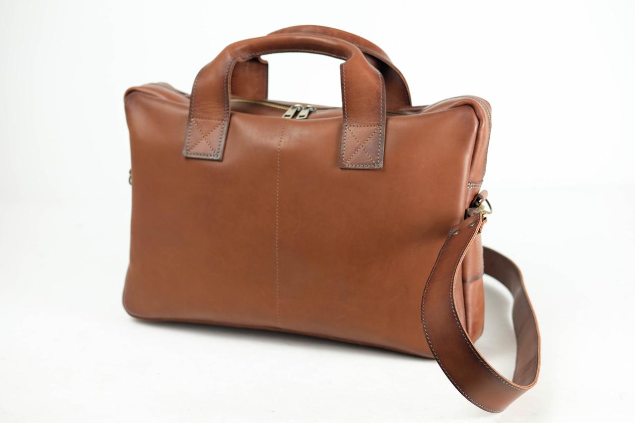 """Чоловіча сумка """"Модель №54"""" Шкіра Італійський краст колір Коричневий"""