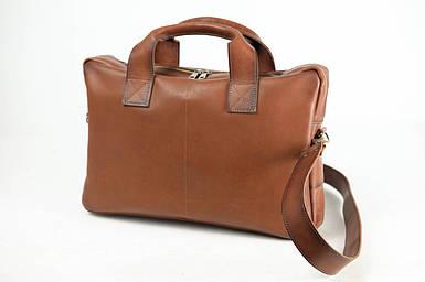Кожаная мужская сумка Стивен, натуральная кожа итальянский Краст цвет Коричневый