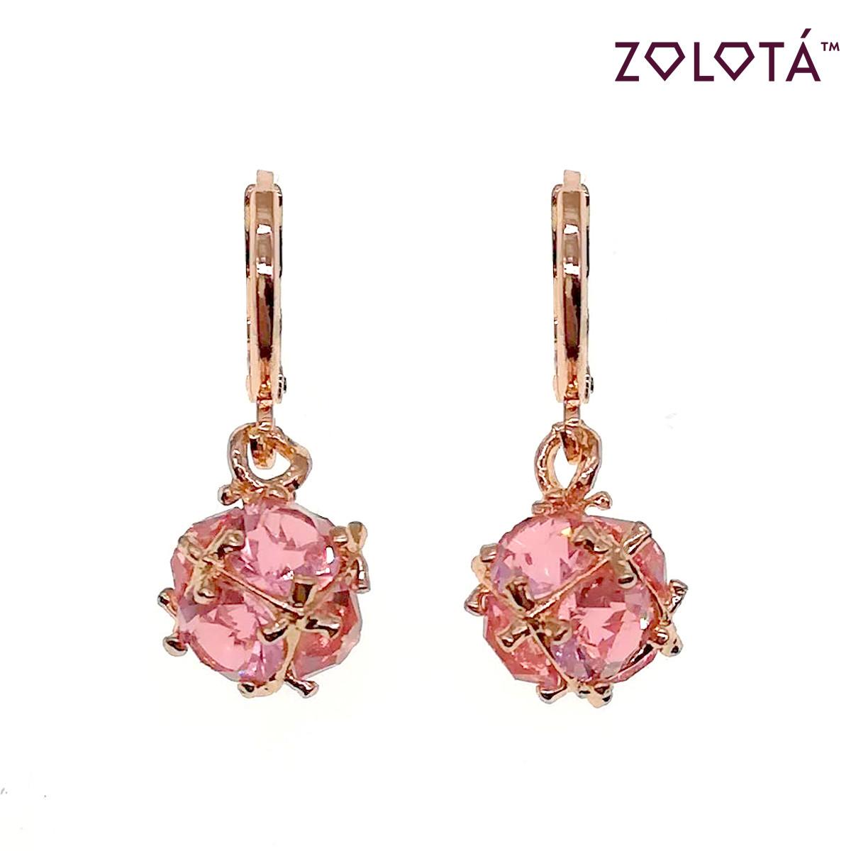 Серьги Zolota с розовыми фианитами (куб. цирконием), в позолоте, ЗЛ00550 (1)