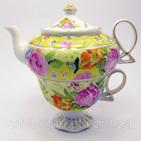 """Сервиз фарфор  1 чайник + 1 чашка """"Цветы на желтом фоне"""" (200/400 мл чашка/чайник)"""