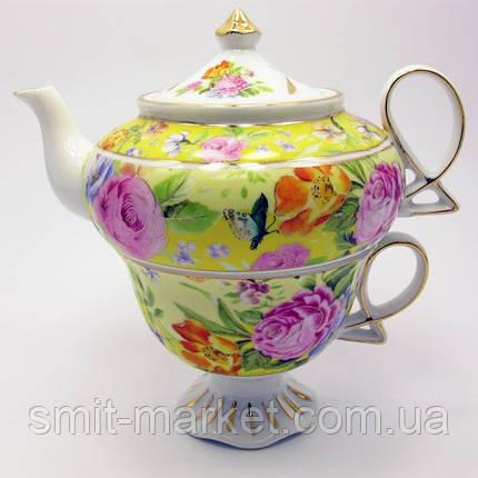 """Сервиз фарфор  1 чайник + 1 чашка """"Цветы на желтом фоне"""" (200/400 мл чашка/чайник), фото 2"""